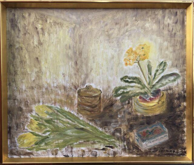Still Life with Flowers - Yellow Tulips - Oil Painting Signed 49 x 58 CM