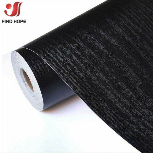 Self Adhesive Film Black Wood Grain Contact Paper Wood Peel and Stick Wallpaper