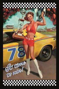 Race-Pin-Up-Girl-Pancarte-en-Tole-Signe-Metal-Voute-Etain-20-X-30-cm-CC0298