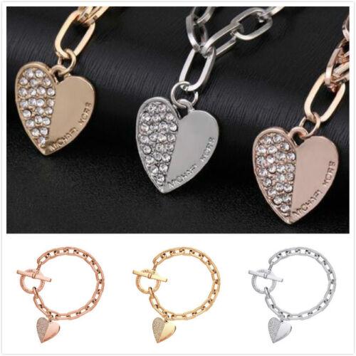 Fashion Jewelry Heart Bracelet Crystal Diamond Chain Letter Bangle Bracelet UK