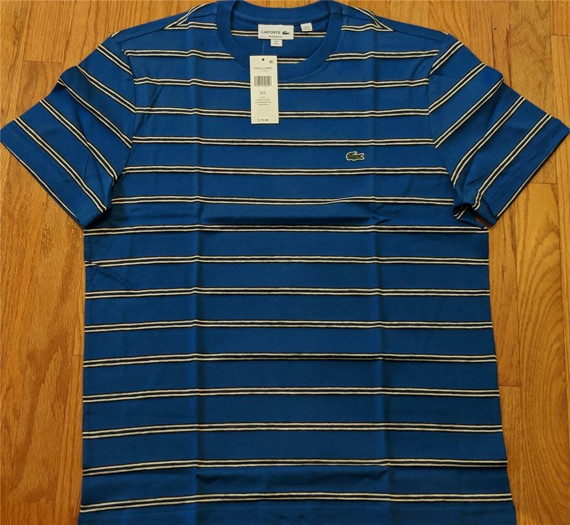 Herren Authentic Lacoste Painted Striped T-Shirt Electric Blau 3 Small 75