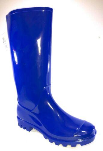 Easy USA RB-010-Royal Womens Royal Blue Waterproof Rubber Rain Boots