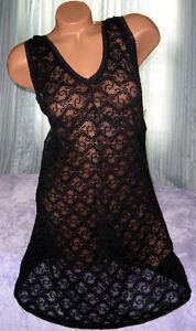 1X-Black-All-Stretch-Lace-Short-Gown-Plus-Size-Lingerie-Nylon