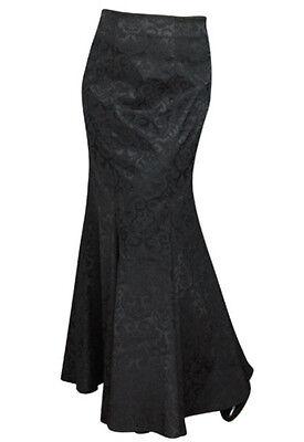 Plus Size Jacquard Gothic Vampire Long Black Corset Fishtail Skirt 1X 2X 3X 4X