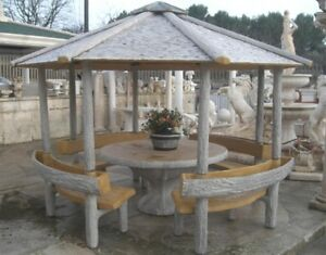 Tavoli Da Giardino In Cemento.Gazebo Effetto Legno Con Tavolo Panchine E Fioriere Arredo Da