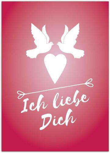 Ich liebe Dich Postkarte Rot Tauben mit Herz