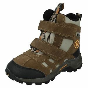13989836904 Details about BOYS MERRELL MOAB POLAR MID WATERPROOF WALKING HIKING ANKLE  BOOTS SHOES J95435
