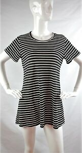 REFORMATION-Dozer-Black-amp-White-Striped-Short-Sleeve-T-Shirt-Dress-Size-M