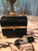Rare Vintage Lisette Ny Purse Case Handbag Black Leather Gold Metal Details