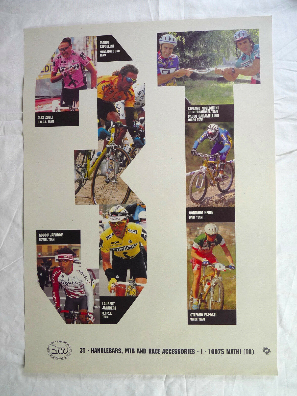 3T Poster Cipollini Mercatone Zulle Once Vintage Bike 90's LARGE 50x70cm NOS