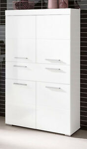Details zu Badschrank Midischrank weiss Hochglanz Badezimmer Kommode  Badmöbel Amanda 73x132