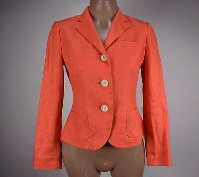 RALPH LAUREN Orange Coral Linen Three Button Office Blazer Jacket SZ 4 Petite