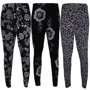 New Ladies Plus Size Floral Print Ankle Length Pocket Leggings 8-26