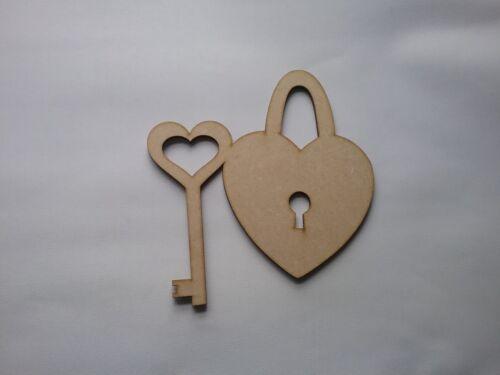 Corazón De Madera Mdf /& Cerradura De Llave formas Decoupage Artesanales Varios Tamaños CFE163