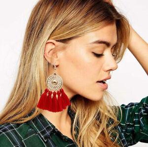 Fashion-Women-Bohemian-Earrings-Sunflower-Tassel-Boho-Dangle-Stud-Earring