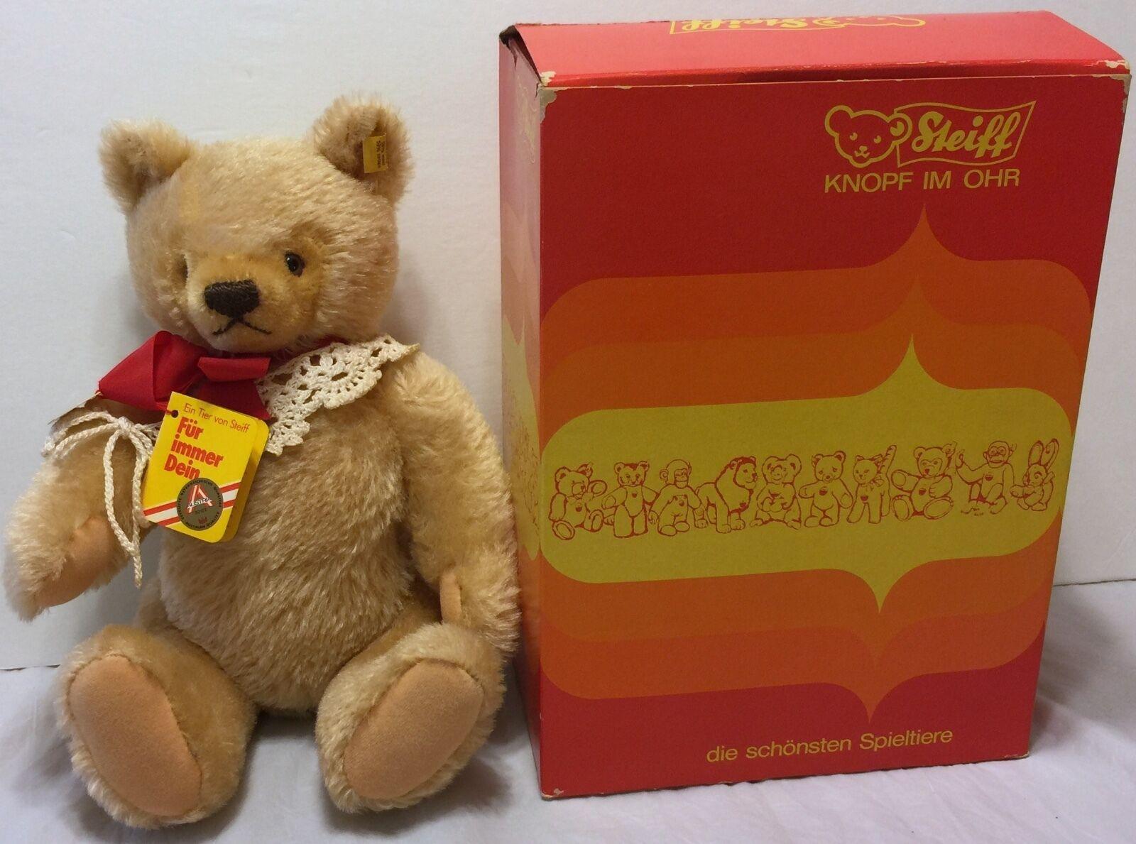 Vintage Steiff 0201/36 Heart Shaped Face Austrian Stuffed Teddy Bear w/Box & Tag