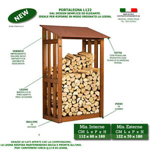 Porta legna l122 in legno deposito casetta pergola - Porta legna per camino ...