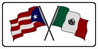 Puerto Rico And Mexico Crossed Flags Photo License Plate