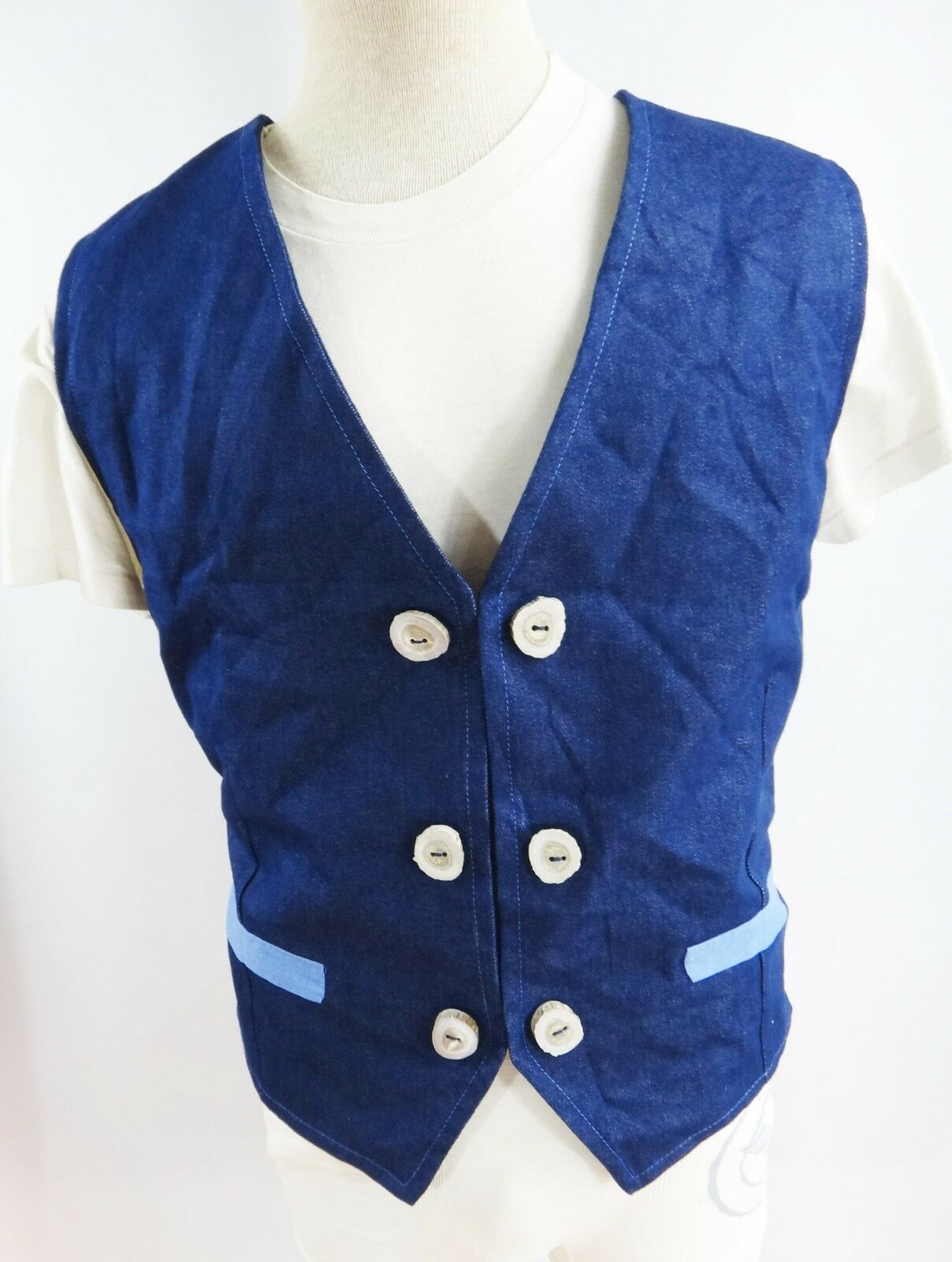 Handmade LARGE antler button vest denim denim denim cowboy blu jean clown steampunk cosplay bb1f21
