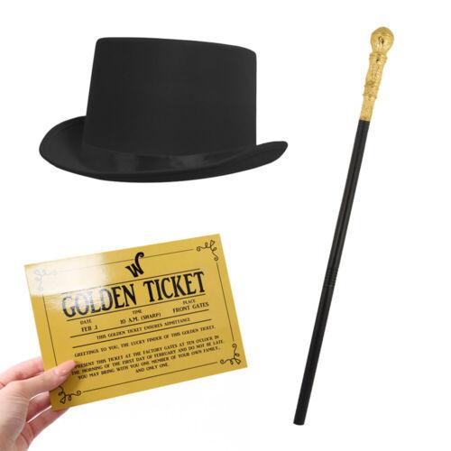 Propietario de fábrica para hombre Top Hat /& Caña Conjunto Adultos Libro Semana Fancy Dress Costume Kit