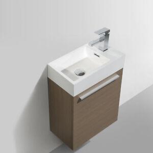 Dowell 010 18 W Wall Mount Bathroom Vanity Polymarble Sink Set 10 D L Pine 818637013856 Ebay
