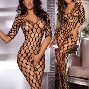 Women-039-s-Bodysuit-Body-Stocking-Lingerie-Fishnet-Babydoll-Nightwear-Sleepwear