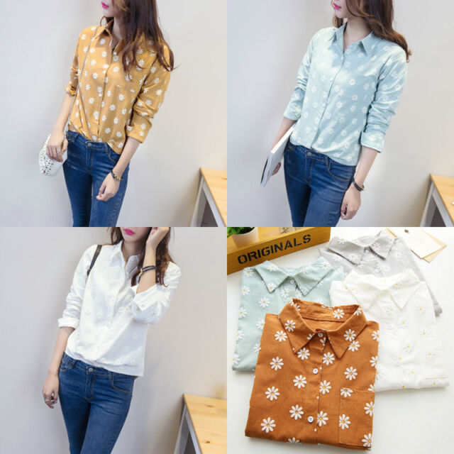 Vintage Women's Long Sleeve Cotton Casual Loose Floral Shirt Tops Fashion Blouse