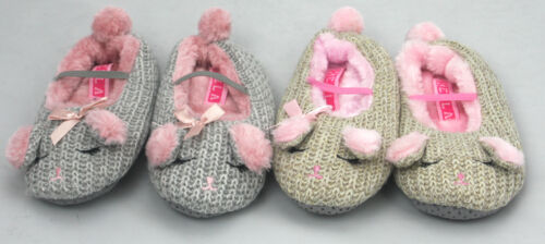 Girls Kids Slippers Novelty Mouse Bunny Animal Pink Grey New Sizes