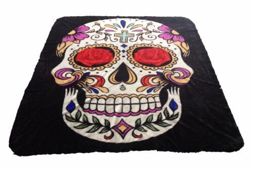 Brand New Sugar Skull print Queen 2 ply Luxury blanket
