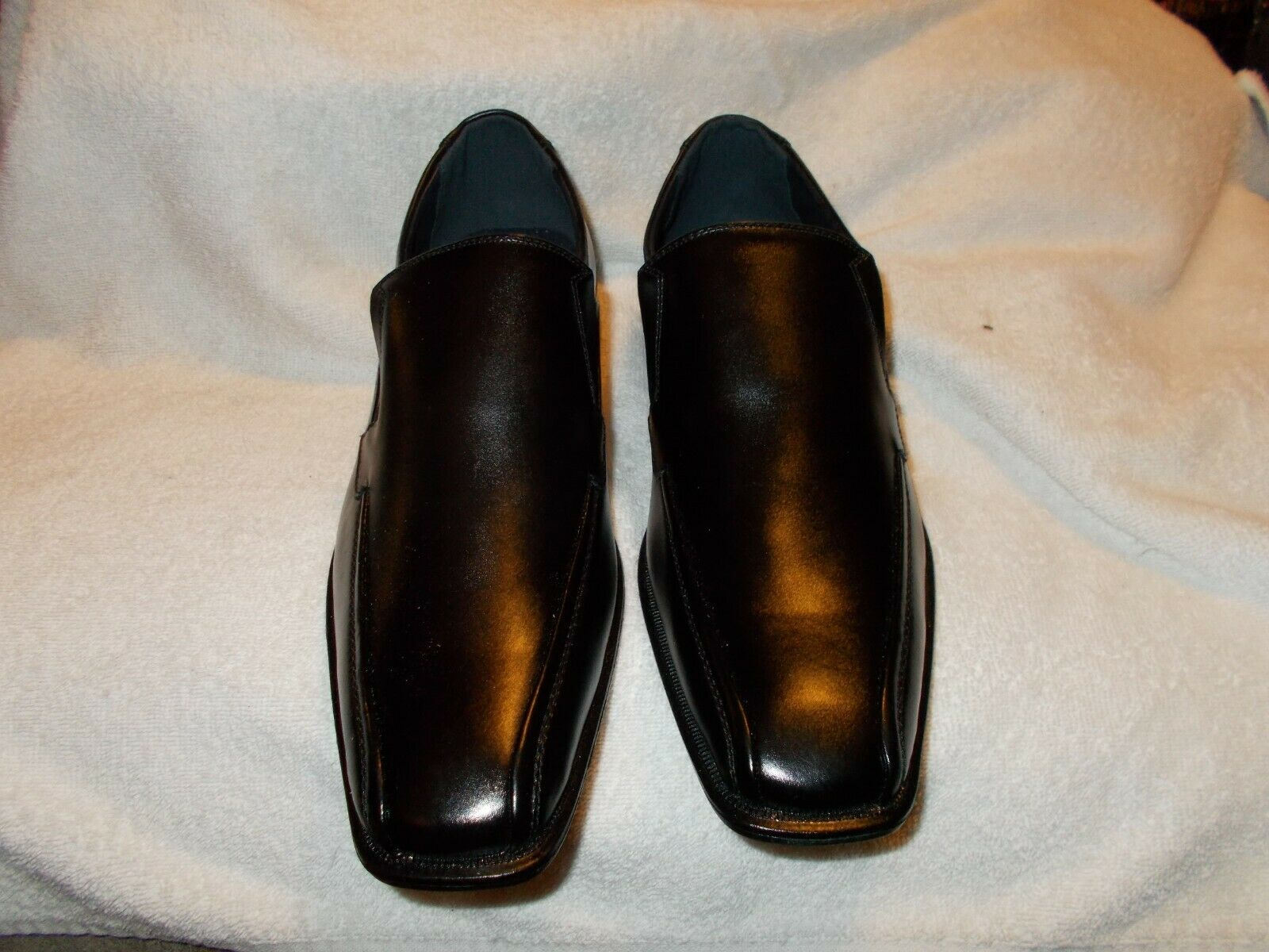 Joseph Abboud Mens Black Leather Slip On Loafers Oxford Dress Shoes Size 8