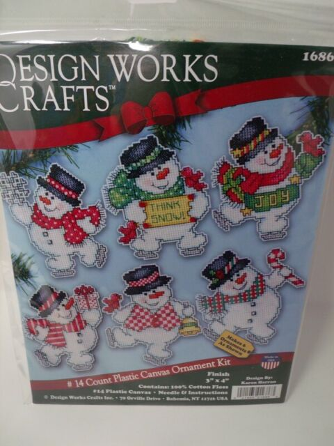 New Year Snowman Stamped Cross Stitch Kit DIY Needlework Crafts 14CT 21x29cm