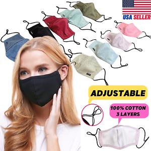 Adjustable Cotton Face Mask Triple Layer Reusable Washable USA SAMEDAY SHIPPING