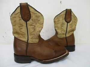 76cb9e8c2be CUATRALBA Brown Leather Square Toe Cowboy Boots Toddler Size 17 ...