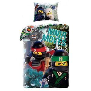 Lego-Ninjago-Se-Deplace-Housse-Couette-Simple-Set-Coton-Enfants-2-IN-1-Design
