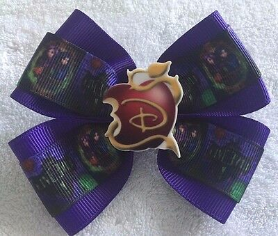 "Girls Hair Bow 4/"" Wide The Descendants WW Purple Ribbon LIVEEVIL French Barrette"