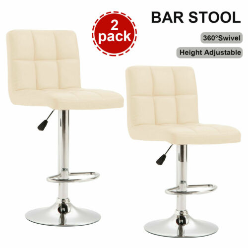 Lot de 2 X Tabourets de Bar Pivotants Cuir PU Cuisine Chaise  Réglable Beige
