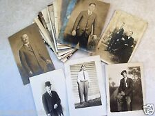 EARLY RPPC POSTCARD LOT OF 21 MEN GUYS MALES GENTLEMEN YOUNG & OLD! REAL PHOTO h
