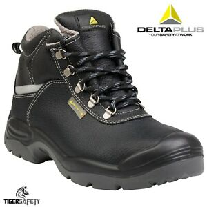 d2807ee4f3b Details about Delta Plus Sault 2 S3 Black Leather Mens Wide Fitting Steel  Toe Cap Safety Boots