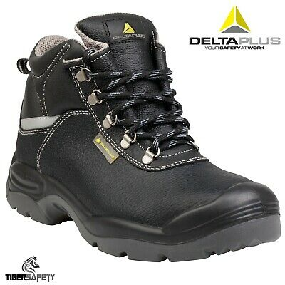 e6d5e373c4a Delta Plus Sault 2 S3 Black Leather Mens Wide Fitting Steel Toe Cap Safety  Boots | eBay