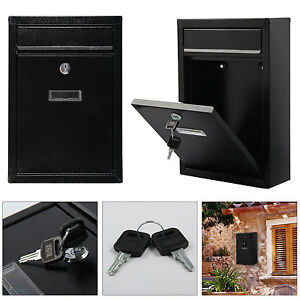 Black-Mailbox-Wall-Mounted-Steel-Mail-Box-Letterbox-Lockable-Letter-Postbox