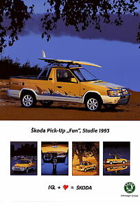Poster-DINA3-Skoda-Pick-Up-Fun-Studie-1993-Auto-PKWs-CZ-Pickup-koda-int-Nr-49
