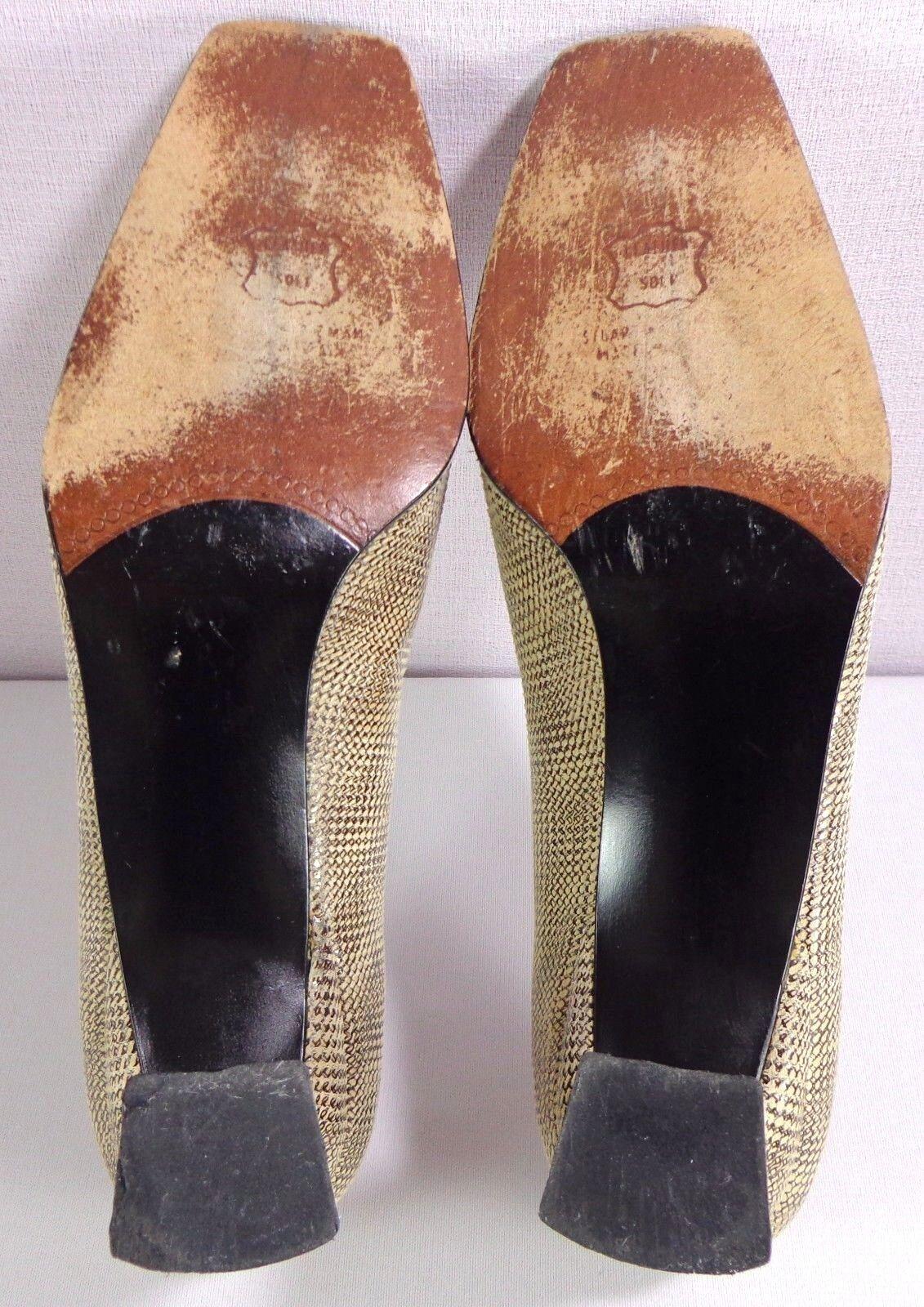 Stuart Weitzman Pumps Womens Womens Womens Square Toe Tan Brown Print Slip On shoes Size 9 B 7ac05a