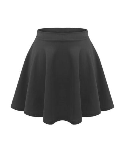 Kids Girls Children High Waisted Stretch Plain Flippy Flared Short Skater Skirts