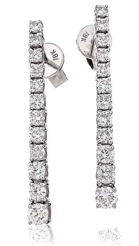 Diamond Drop Earrings Graduated 1.20ct F VS Brilliant Cut in 18ct White gold