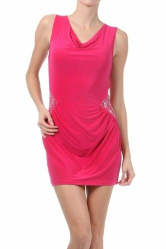 New Women/'s Juniors Club Cocktail Rhinestone Cowl Mini Sleeveless Bodycon Dress