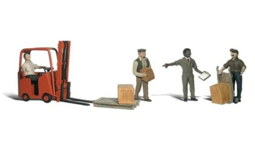 Woodland Scenics Workers w//Forklift HO Train Figures A1911