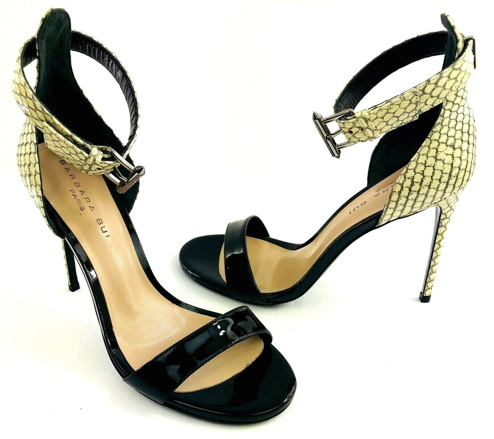 Barbara Bui Ankle Strap Sandals Snake & Patent EUR 38 US 7.5