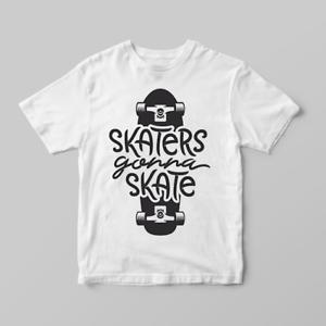 372cd845e4 Details about Skaters Gonna Skate Cute Skateboard Boys Children's Kids T  Shirts T-Shirt Top