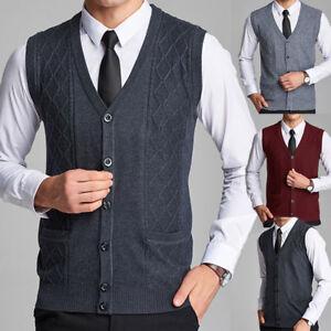 Men Sleeveless Knitted Sweater Button Down Cardigan Vest Waistcoat ...
