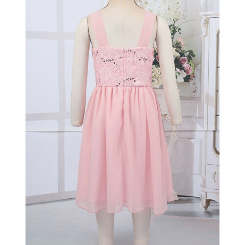 Girls Dress Beaded Waist Flower Tulle Party Pageant Dress Wedding Birthday Party